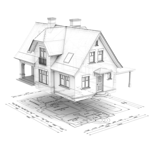 Black and white illustration of a wireframe house raised above the floor plan