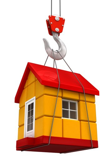 Illustration of crane hook raising miniature house