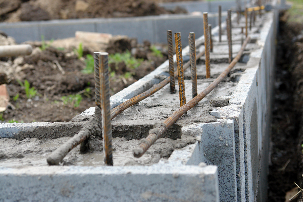 Closeup of house foundation